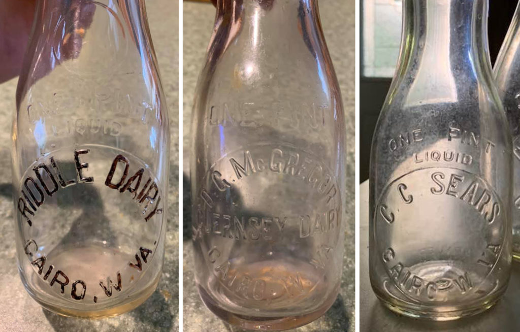 3 Dairy Bottles Cairo, WV CC Sears Riddle  D.G.McGregor
